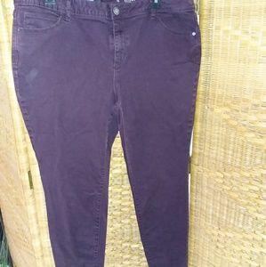 Vera Wang dark purple skinny jeans size 16